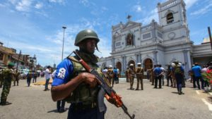 COLOMBO, SRI LANKA - APRIL 21: Sri Lankan security forces secure the area around St. Anthony's Shrine after an explosion hit St Anthony's Church in Kochchikade on April 21, 2019 in Colombo, Sri Lanka. At least 207 people have been killed and hundreds more injured after multiple explosions rocked three churches and three luxury hotels in and around Colombo as well as at Batticaloa in Sri Lanka during Easter Sunday mass. According to reports, at least 400 people were injured and are undergoing treatment as the blasts took place at churches in Colombo city as well as neighboring towns and hotels, including the Shangri-La, Kingsbury and Cinnamon Grand, during the worst violence in Sri Lanka since the civil war ended a decade ago. Christians worldwide celebrated Easter on Sunday, commemorating the day on which Jesus Christ is believed to have risen from the dead. (Photo by Stringer/Getty Images)